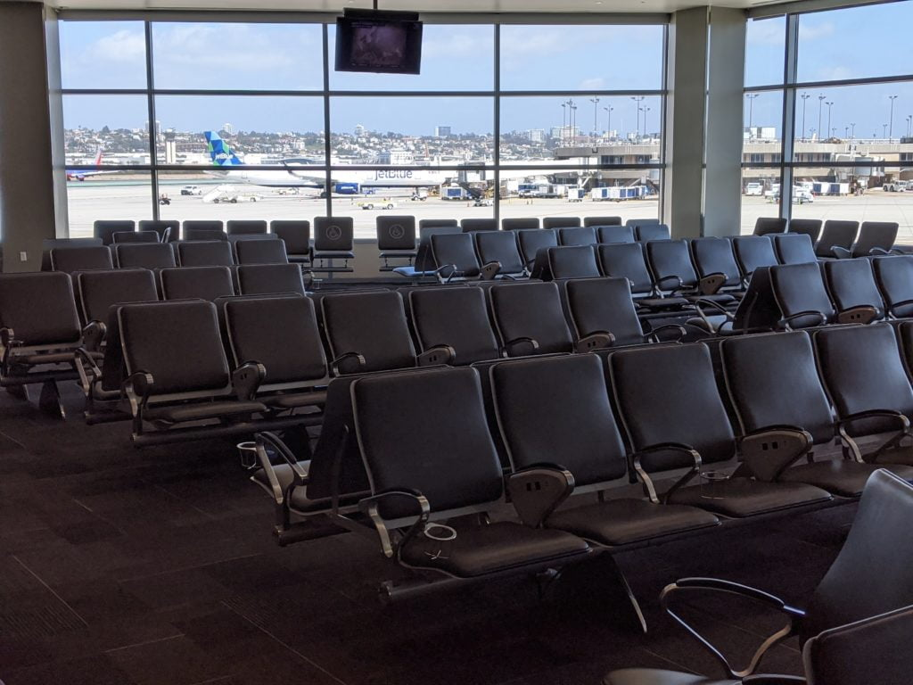 Empty chairs at the San Diego airport on a Friday afternoon during the Covid-19 pandemic.