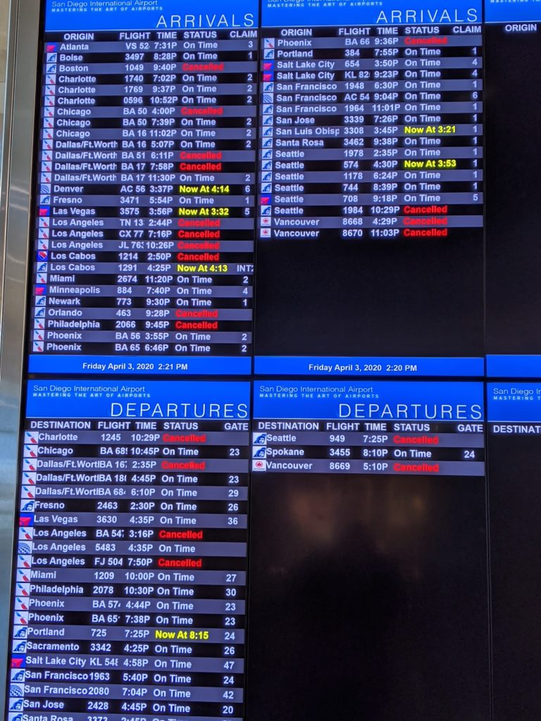 Flight Board showing limited options at the San Diego airport on a Friday afternoon during the Covid-19 pandemic.